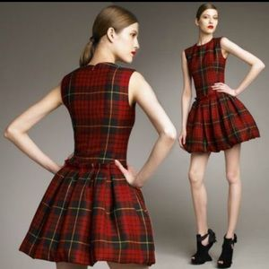 McQ by Alexander McQueen Tartan Pouf-Skirt Dress
